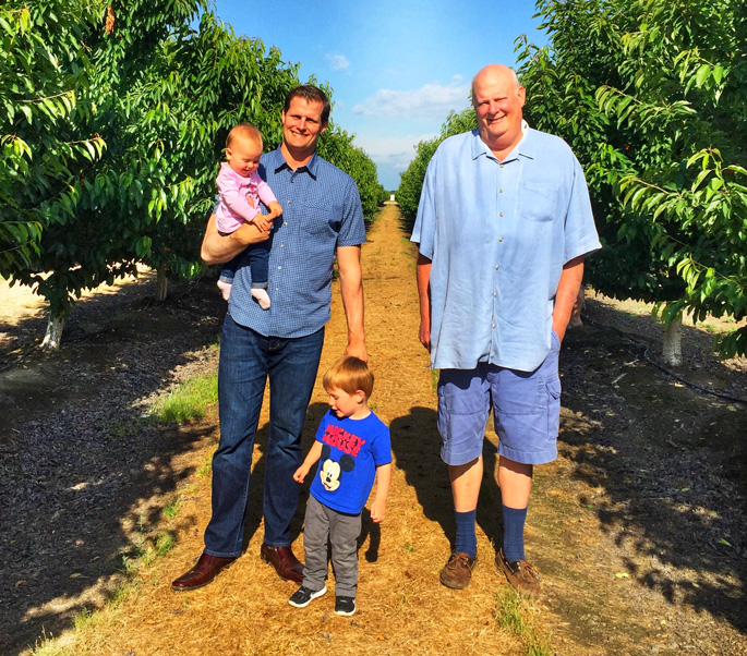 Three generations:  Father Bill Tos Jr. Mark and his daughter Avery and son Corban