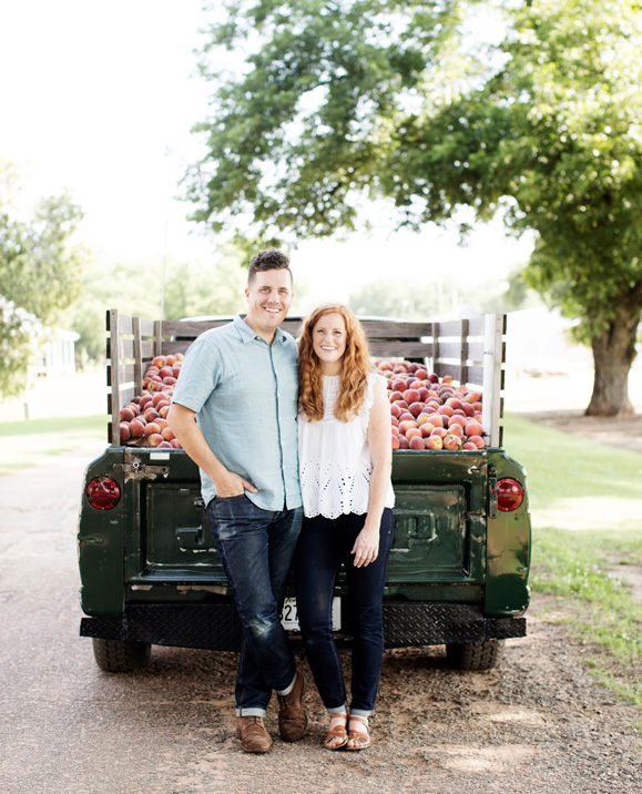 Stephen and Jessica Rose with the original Peach Truck   Photo by Eliesa Johnson