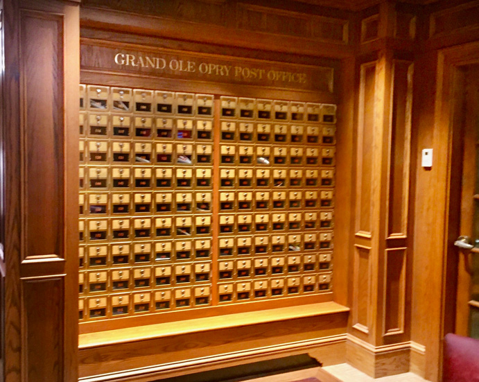 Grand Ole Opry post office where members can receive their mail. You will see this on the Back Stage tour