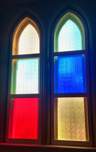 Stained glass windows in the Ryman