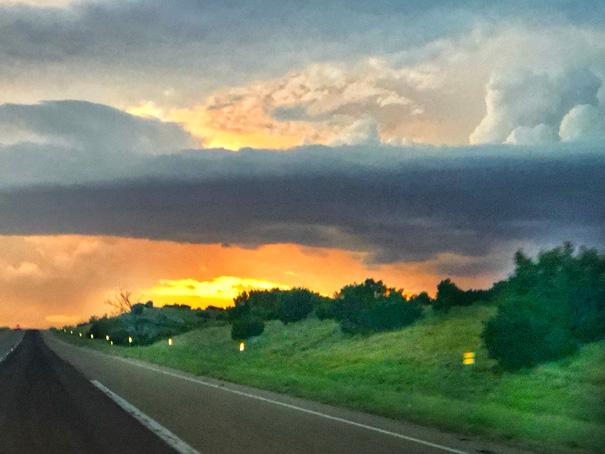 Sun setting over Amarillo Texas