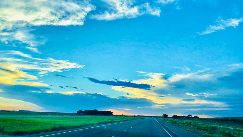 Sun setting our drive to Amarillo Texas